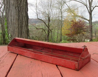 Vintage Rusty Red Metal Tool Tray/ Tote - Industrial Decor - Rustic Storage - Garden Tote