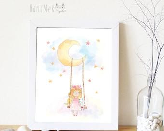 Girl and swing Art Printable, Digital Art Printable,girl clipart, Instant Download Art