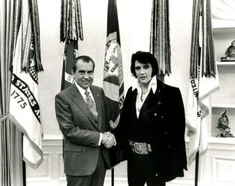 President Richard Nixon Meets With Elvis Presley in 1970 - 5X7, 8X10 or 11X14 Photo (EP-834)