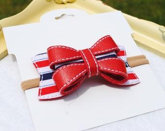 Patriotic Baby Bow Headband - Red White & Blue Headband - 4th of July Hair Accessory - M2M Sew Sassy Freedom - July 4th Hair Bow on Headband