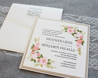 Rustic Pocket Wedding Invitations, Chalkboard Floral Boho Wedding Invite, Pink Wedding Invitation Suite, Taupe and Pink | Heather & Benjamin