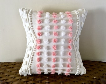 pink pillow cover 12 X 12 PINK POPS pink cushion cover, cottage chic shabby style, Valentine's Day pillow cover