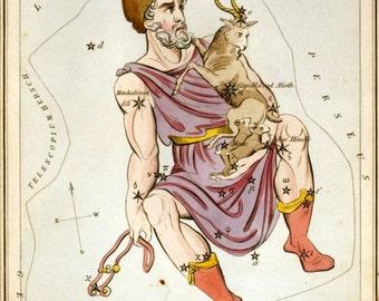 Auriga constellation card from 1824 Urania's Mirror facsimile reproduction vintage print