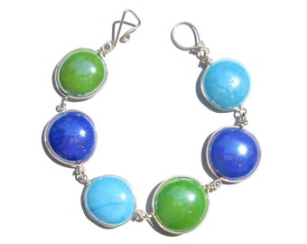Opaque Light Blue Green Mix Recycled Glass Bracelet/ Necklace
