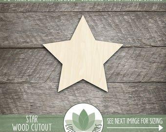 Wood Star Shape, Unfinished Wood star Laser Cut Shape, DIY Craft Supply, Many Size Options, Blank Wood Shapes