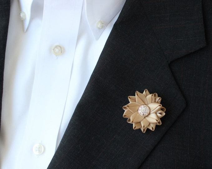 Small Lapel Flower for Men, Gold Lapel Flower, Gold Boutonniere, Mens Lapel Flowers, Mens Flower Lapel Pin, Grooms Flower, Gift for Him
