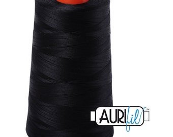 AURIFIL Cone MAKO 50 Wt 5900 Meters 6452 Yds Color 2692 Black Quilt Cotton Quilting Thread