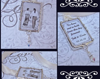 Bridal Bouquet Charm, Wedding Memorial Charm, Photo Pendant, Picture Charm, Remembrance Photo
