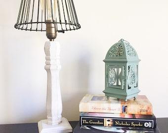 Farmhouse Style Table Lamp Bedside Lamp Desk Lamp Home Decor Lighting Rustic Lamp Handmade Rustic Decor Vintage Wood Lamp Bedroom Lamp Desk