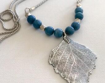 Leaf pendants/blue/ chain necklaces /long necklaces