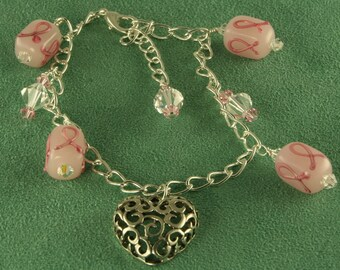 Pink on Pink Breast Cancer Awareness Anklet Handmade