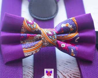 Kids Purple Paisley Bow Tie with Red Suspenders / Braces  for Baby, Toddlers and Boy - Wedding / Church/ Cake Smash / Birthday / Christening