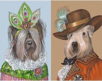 Terrier Couple I - 2 Art Prints - Skye Terrier and Soft-Coated Wheaten Terrier - Funny Pet Portraits by Maria Pishvanova