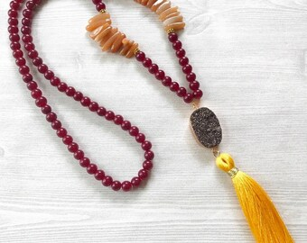 Beaded Druzy Necklace, Druzy Tassel Necklace, Long Beaded Necklace, Colorful Tassel Necklace