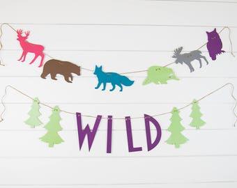 Wild One Birthday Party Decoration Banner Set-Girl-Forest Baby Shower-Wild One Forest Decoration-Wild One Birthday Party-Wild Party Banners
