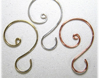 "Large (1 3/4"" to 2"") Ornament Hooks in Silver, Gold, or Copper, Set of 12"