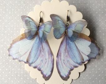 Handmade Pale Blue Morpho Butterfly Wings Earrings, Unique Earrings, Butterfly Earrings, Silk Organza Earrings, Iridescence