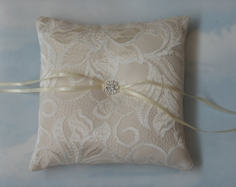 Wedding pillow. Ivory and pale gold.