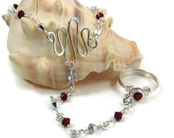 July Birthstone Slave Bracelet Ring Attached Ruby Red & Silver Swarovski Crystals