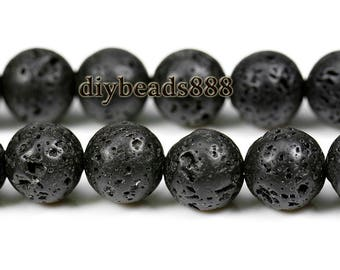 Lava,15 inch full strand Black Lava round beads 6mm
