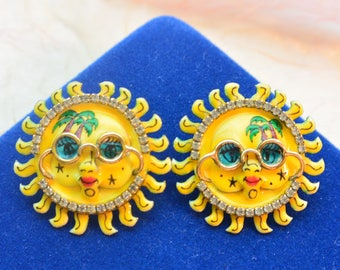 Lunch at the Ritz Earrings - Sun with Sunglasses, Signed, Clip - Free US Shipping- Vintage - Fabulous!