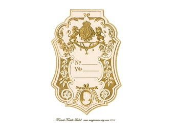 Large French Textile Label - Gold and White - Digital Download - Printable - Instant Download