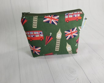 London Scene, Big Ben, Union Jack, Double Decker Bus, Zipper Notions Pouch, Mini Zippered Wedge Bag, Craft Pouch NP0057