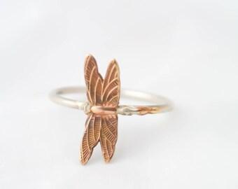 Dragonfly Stacking Ring BOHO Dragonfly Ring Sterling Silver Stack Ring Sterling Skinny Stacking Ring Argentium Stacking Ring