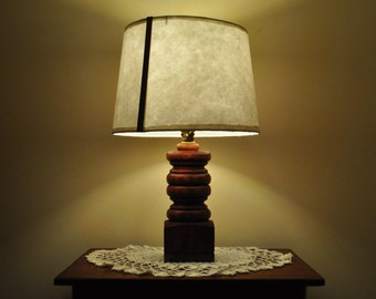 Hand Turned Wooden Base Lamp with Hand Made Paper Lamp Shade-