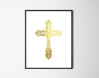 Cross Wall Decor, Gold Cross Printable, Christian Print, Gift for Christian, Art Gift ideas, Church Wall Art, Cross Art, Gold Style Design