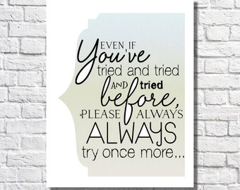 Inspirational Quote Typographic Print Motivational Wall Decor Encouragement Gift For Women Inspirational Sign Never Give Up Poem Art Poster