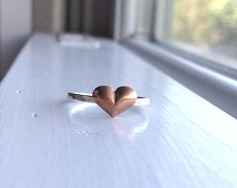 Copper Heart RIng, Copper Ring, Puffy Heart Ring, Sterling Silver Ring, Stacking Ring, Heart Stacking RIng, Sterling Silver Jewelry
