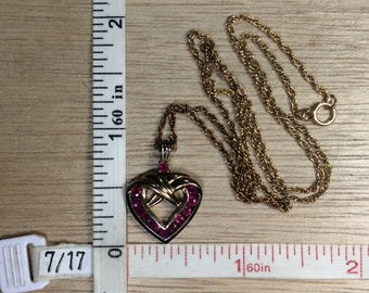 "Vintage 18"" 925 Sterling Silver 4.7g Gold Washed Ruby Heart Necklace Used"