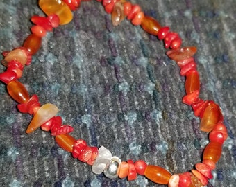 Carnelian and Clear Agate Bracelet 7 inches.