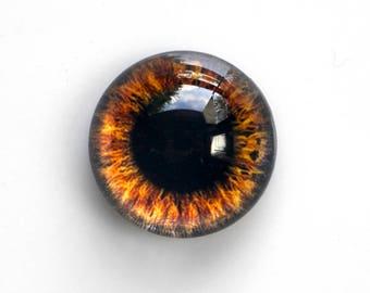 25mm handmade glass eye cabochon - brown eye - Hemispherical / HIGH DOME