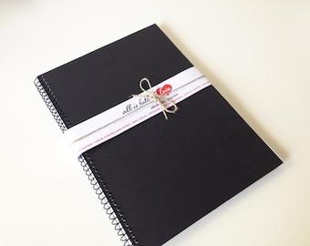 Black Notebook Handmade A5 Journal Spiral bound diary writing supplies sketch book A5 spiral bound diary notebook journal