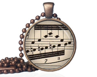 Musical Note Jewelry - Music Notes Necklace - Musical Jewelry - Musical Note Jewelry - Antique Sheet Music Necklace - Music Lover Necklace