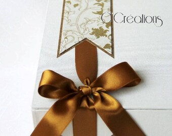 Wedding box for gift, ivory and gold