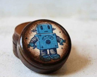 Pill Box, Lil Robot Pill Box, Wood Box, Storage Box, Tooth fairy box, Handmade box, Kids Storage, Room decor