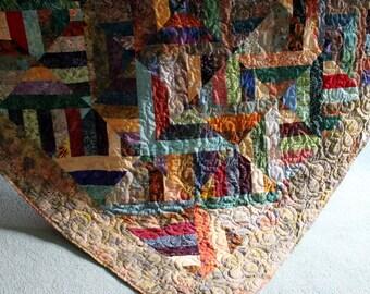 "Twin Bed Quilt in multicolor Batik Quiltlovers Strip Quilt 67"" x 85"""