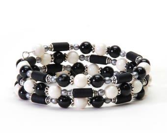 Black and White Memory Wire Bracelet - Mystic Black and Ivory Swarovski Gemcolor Pearl Wrap Bracelet
