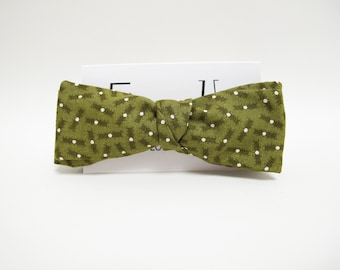 Moss green white polka dots bow tie