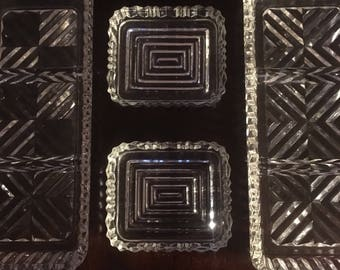 1930s Clear Glass Relish Trays - 2 large and 2 small