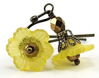 Yellow Flower Earrings, Sunny Floral Dangles, Jewelry with Czech Glass and Antiqued Brass, Delicate Lucite Short Lightweight Spring Easter
