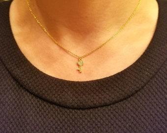 tiny pave key necklace