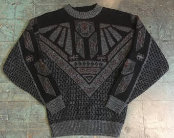 Vintage 80s Le Tigre metallic geometric sweater // size large crew neck // made in USA // Cosby
