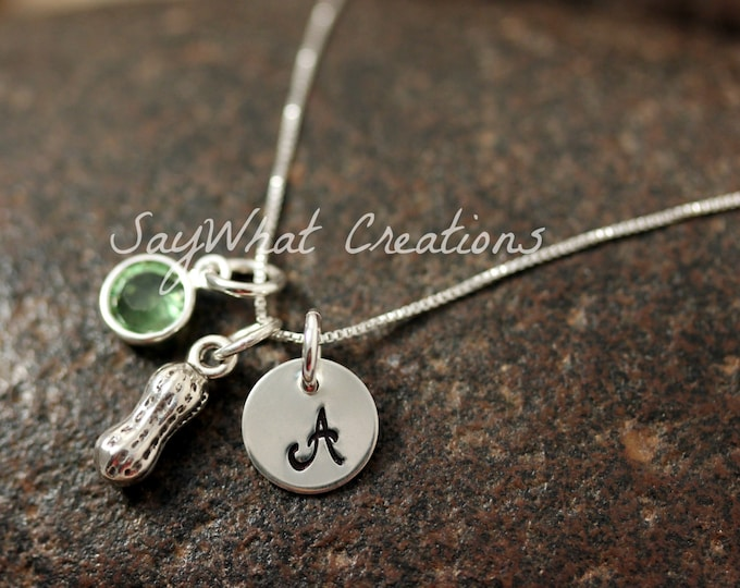 Sterling Silver Mini Initial Hand Stamped Peanut Charm Necklace