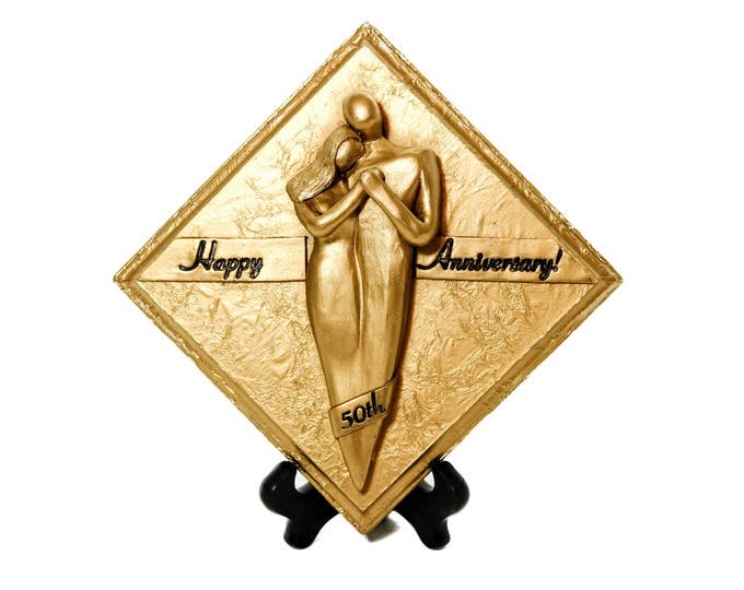Happy 50th Anniversary Gold Plaque, Wedding Anniversary Gift for Couple, Parents, Grandparents Celebrating 50 Years of Marriage