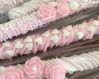 It's A Girl Pink Chocolate Covered Pretzel Rods(1 DOZ)/Baby Shower/Girl's Shower/Baby Shower Favors/Sweet 16/Girl's Birthday/Bridal Showers