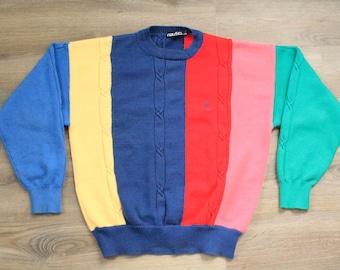 Vintage 90s Colorblock Nautica Sweater Pullover Jumper, Men's Large